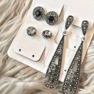 3 Piece Black and Silver Earring Set